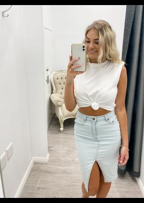 Janice Knee Length Denim Skirt