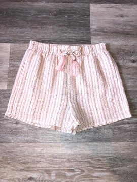 Striped Tassel Tie Shorts- Blush