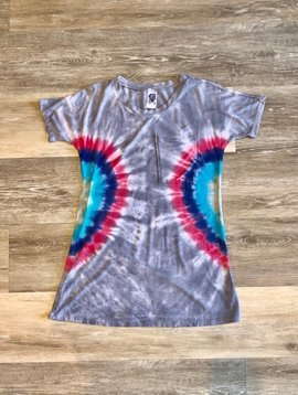 Tie Dye Dress- Grey, Blue and Red