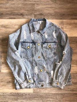 Distressed Washed Denim Jacket