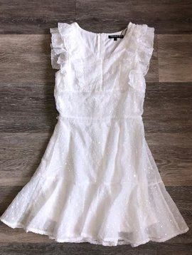White Ruffle Sequin Dress