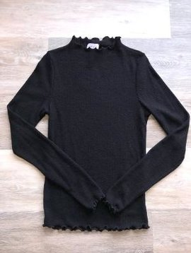 Long Sleeve Lettuce Hem Mock Neck- Black