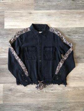 *SALE* Black w Leopard Trim Top
