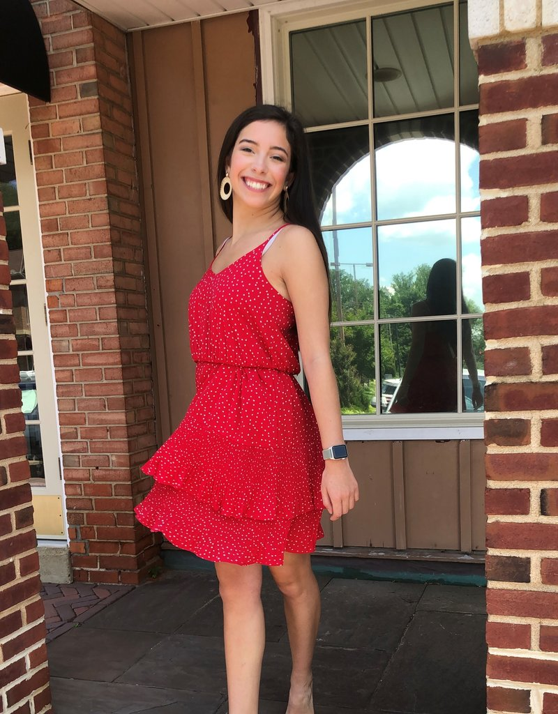 Red Printed Dress w Pleated Bottom