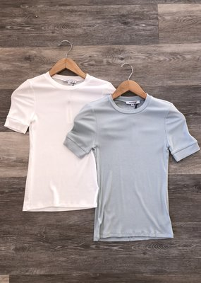 Ribbed Basic Short Sleeve Top- White and Sky Blue