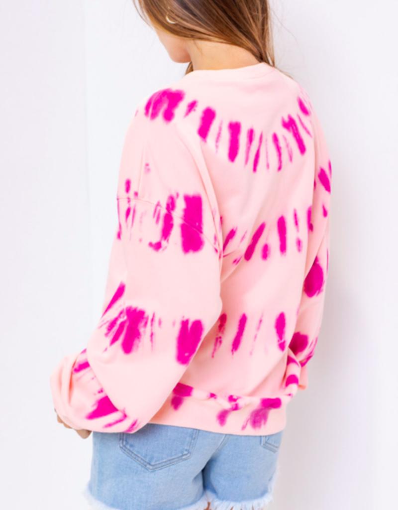 Fuschia Pink Tie Dye Sweatshirt