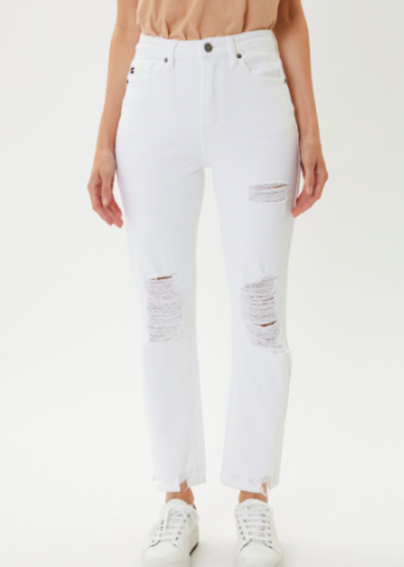 Jaime High Rise Stright Fit White Denim