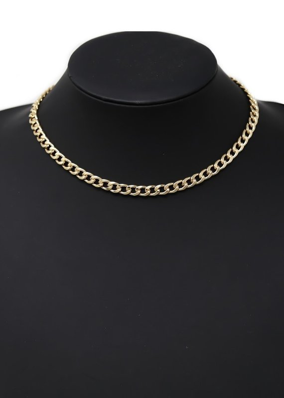 Flattened Link Chin Necklace