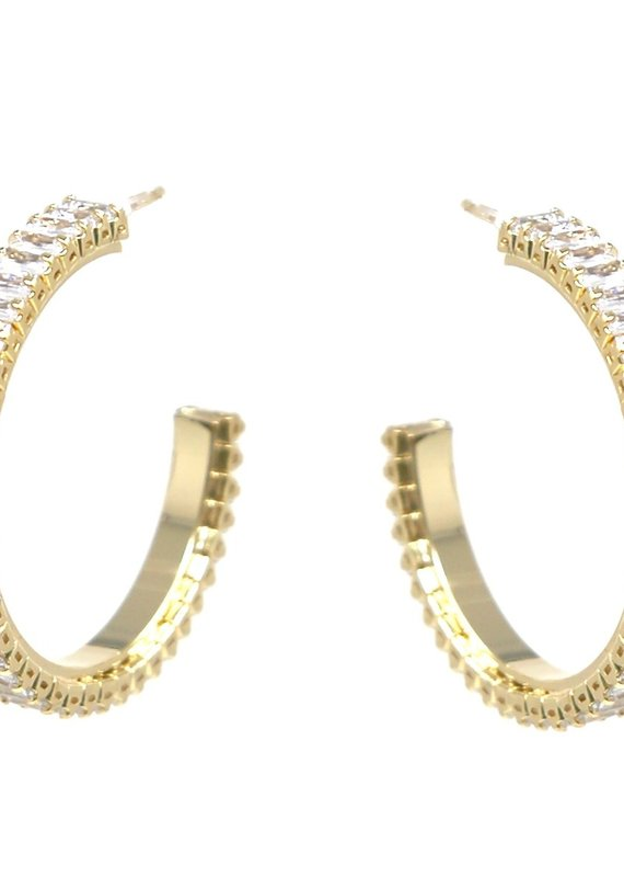 Gold Gem Hoops