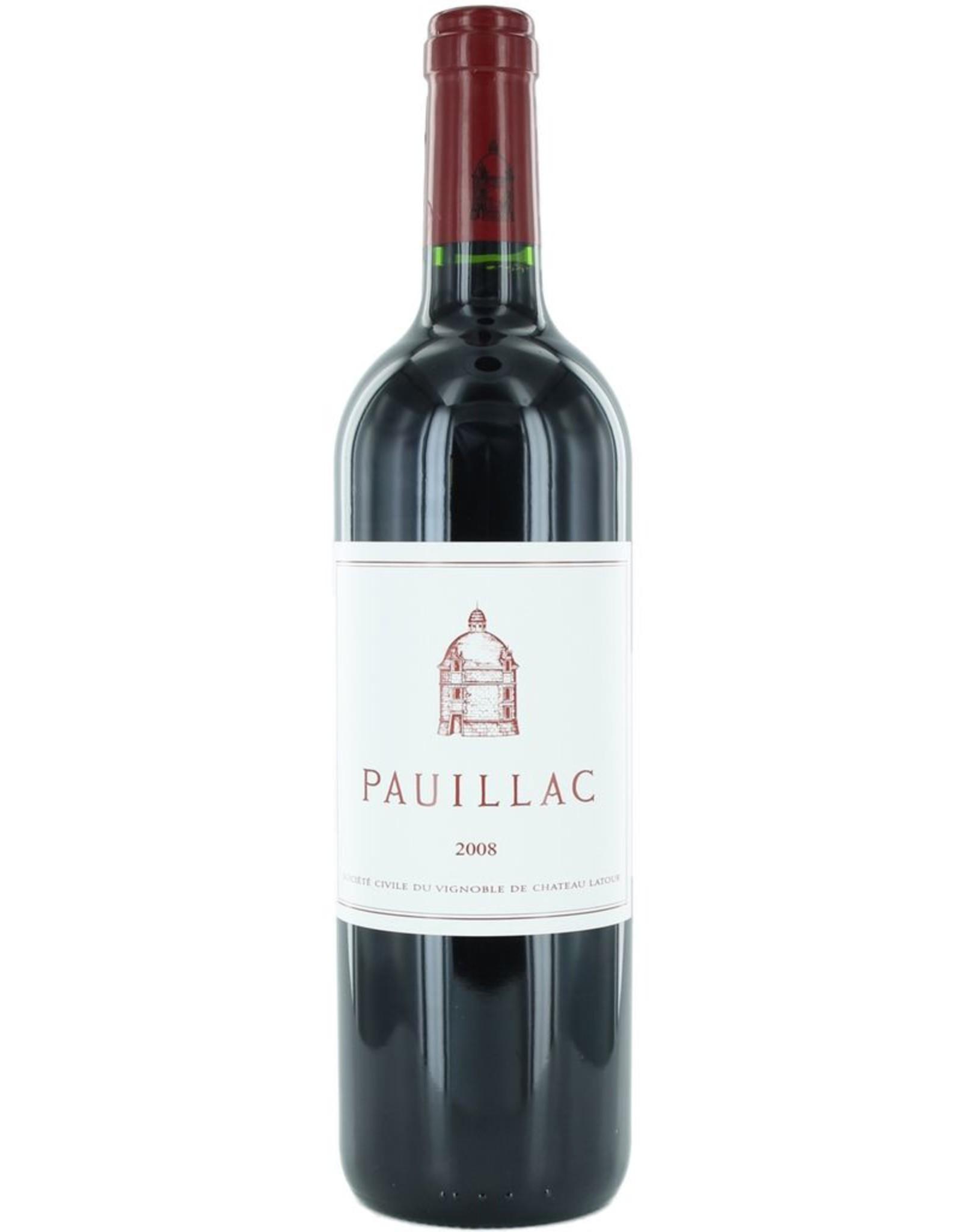 Red Wine 2008, Pauillac de Latour 1st Growth 3rd Grand Cru, Red Bordeaux Blend, Pauillac, Bordeaux, France, 14% Alc, CT91