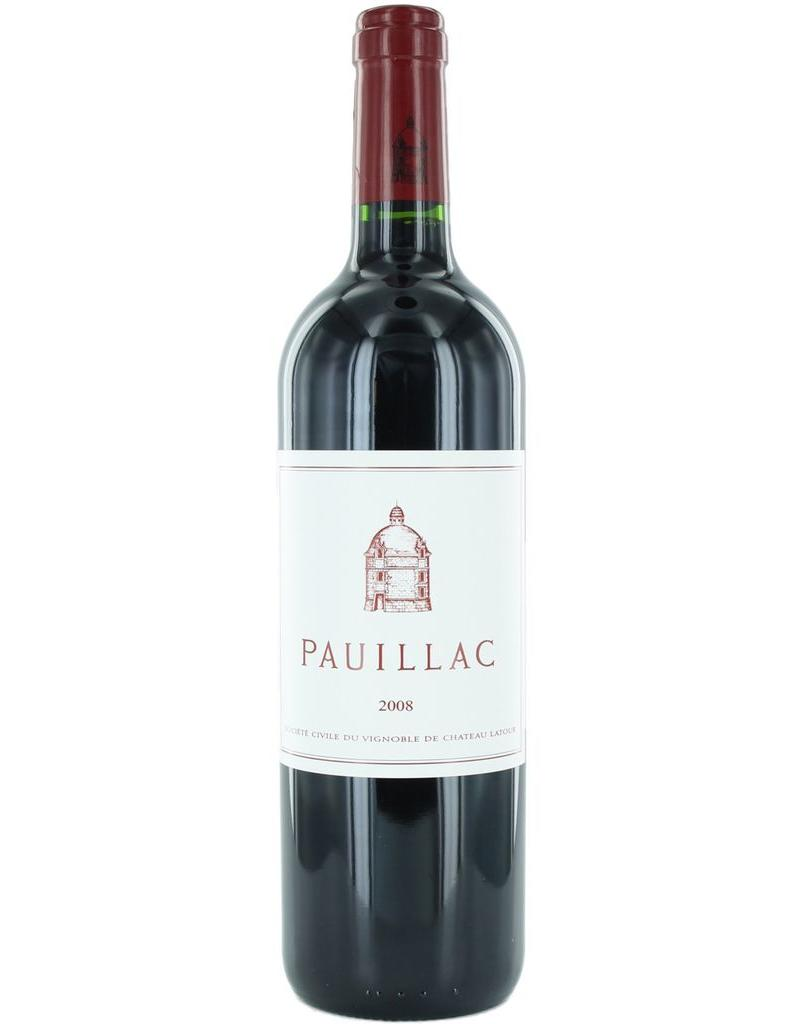 Red Wine 2008, Pauillac de Latour 1st Growth 3rd Grand Cru, Red Bordeaux Blend, Pauillac, Bordeaux, France, 14% Alc, CT91