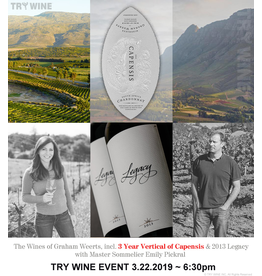 "Special EVENTS 3.22.2019 ""The Wines of Graham Weerts"" WINE TASTING, $45pp"