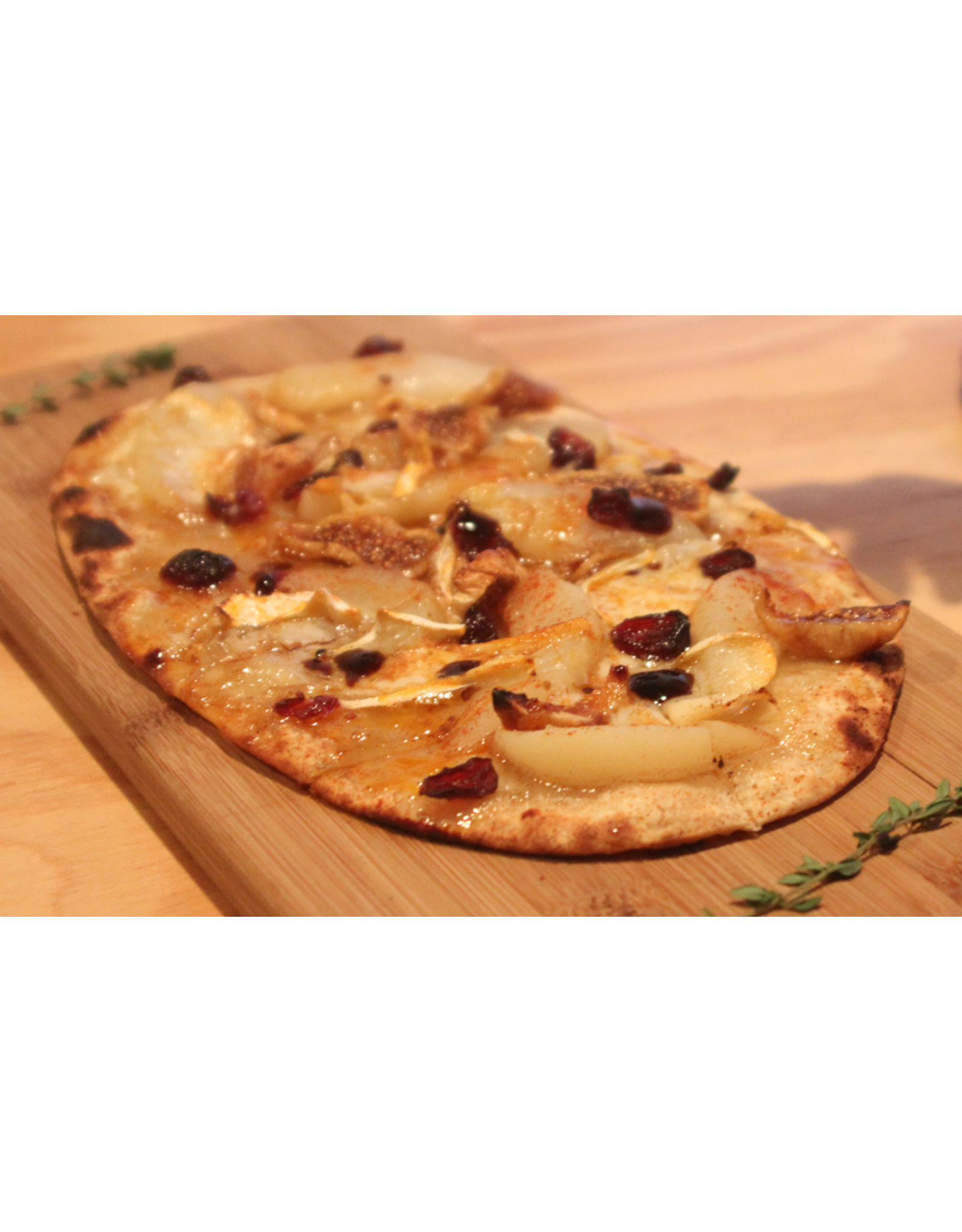Wine Dining™ TO-GO TO-GO Reserve Brie Pear & Fig ~ Chefs  Oven Fired Flatbread ~ includes a Side of Balsamic Dip