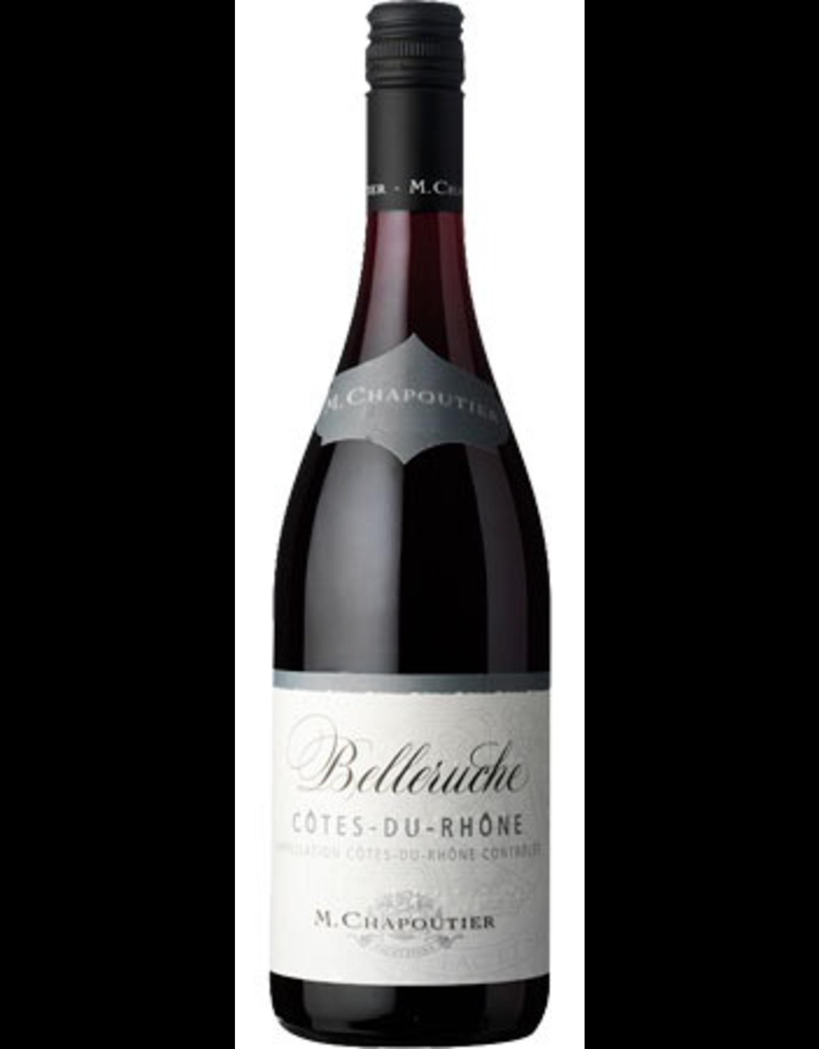 Red Wine 2017, M. Chapoutier Cotes-Du-Rhone Belleruche, Red Rhone Blend Grenache/Syrah, Cotes Du Rhone, Southern Rhone, France, 14% Alc, CTnr JS89