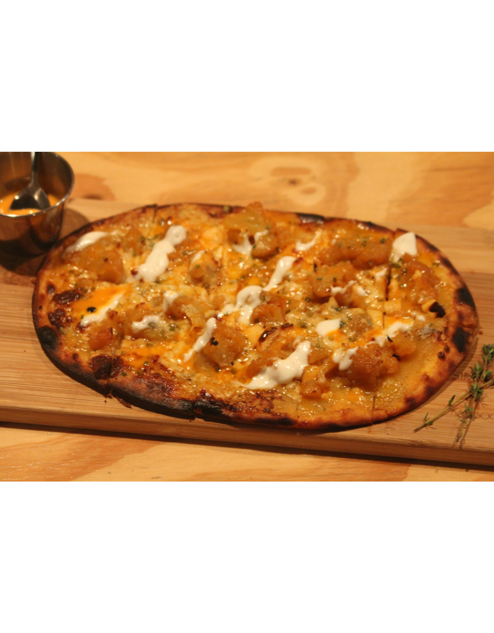 Wine Dining™ TO-GO TO-GO Buffalo Blue Cheese ~ Chefs Oven Fired Flatbread ~ Add Optional Steak Topping