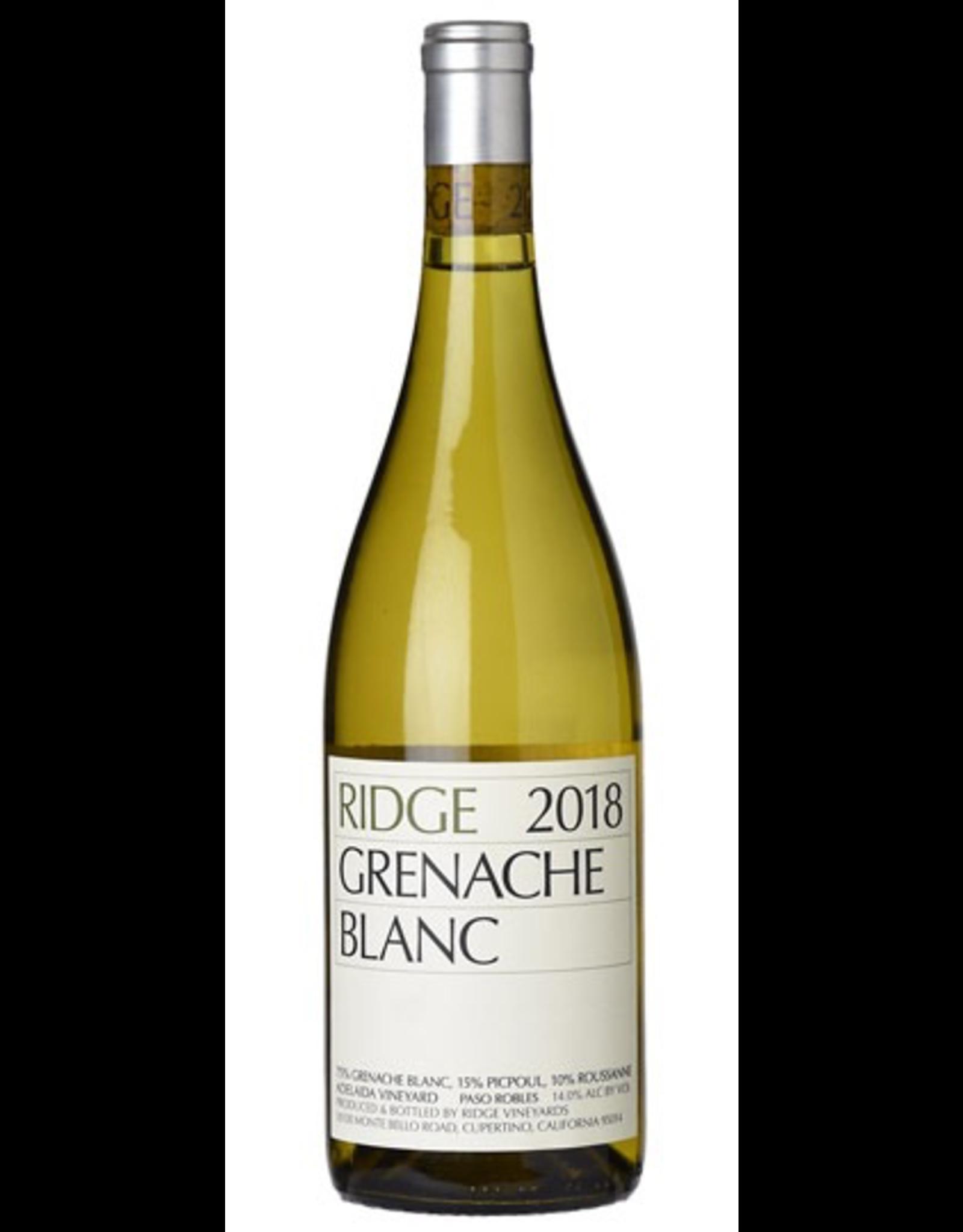 White Wine 2018, Ridge Vinyards, Grenache Blanc, Paso Robles, Central Coast, California, 14% Alc, CT90.7