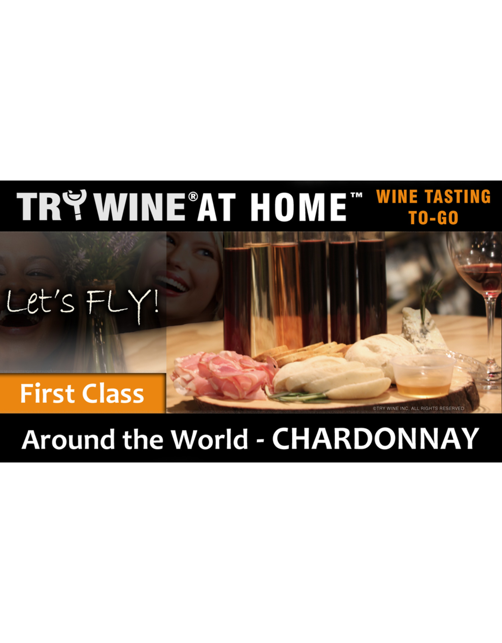 "Wine Flights TO-GO TRY WINE® AT HOME™, Around the World ""Chardonnay"" FIRST CLASS TASTE TUBE FLIGHT™"