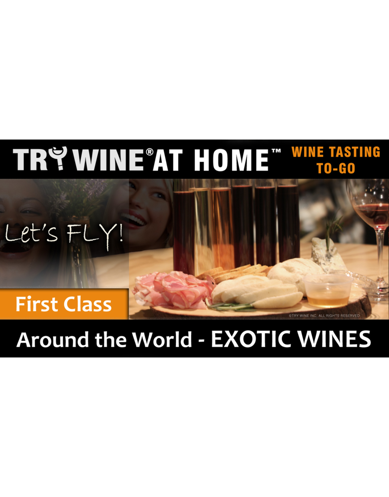 """Wine Flights TO-GO TRY WINE® AT HOME™, Around the World """"Exotic Wines"""" FIRST CLASS TASTE TUBE FLIGHT™"""