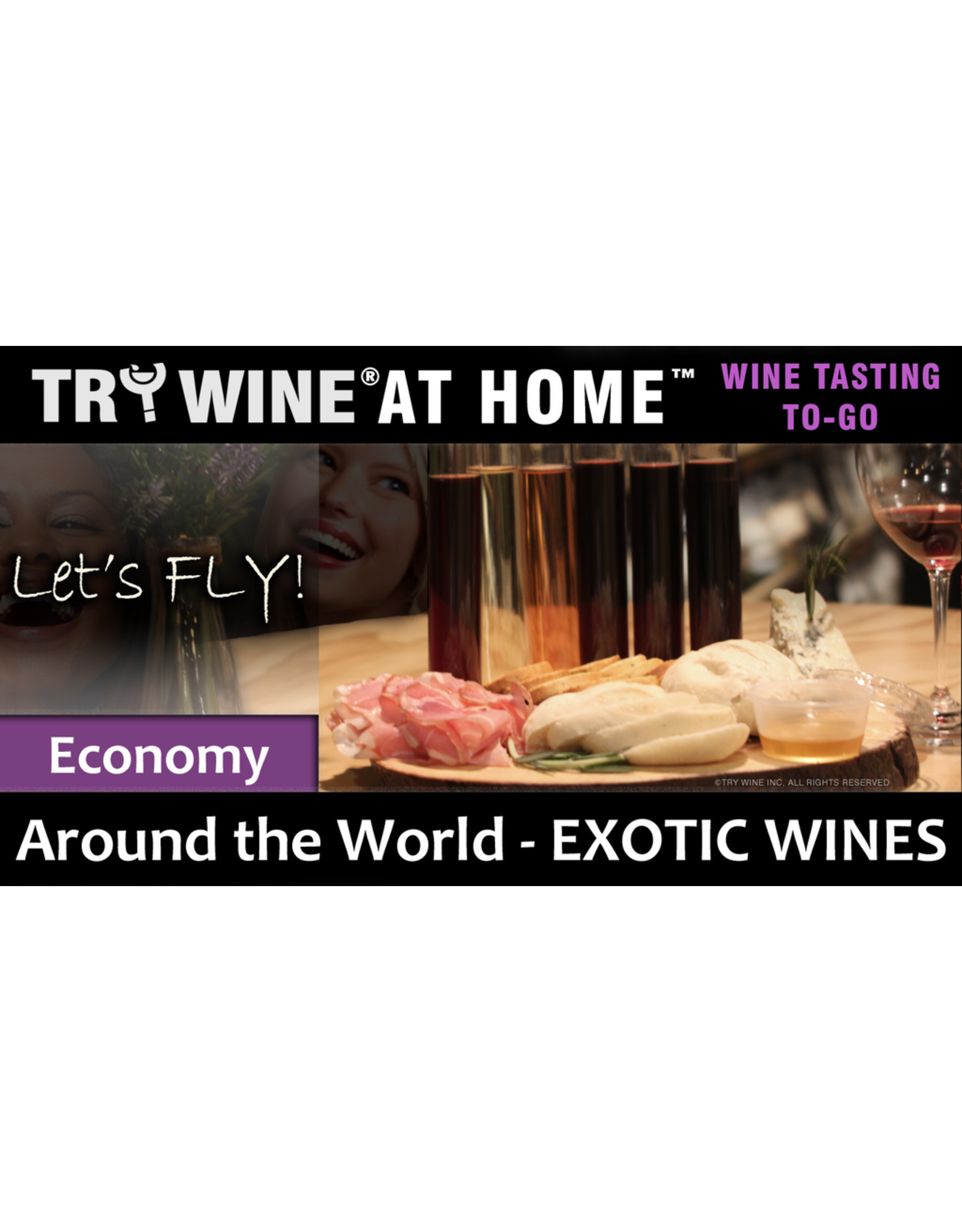 "Wine Flights TO-GO TRY WINE® AT HOME™, Around the World ""Exotic Wines"" ECONOMY TASTE TUBE FLIGHT™"