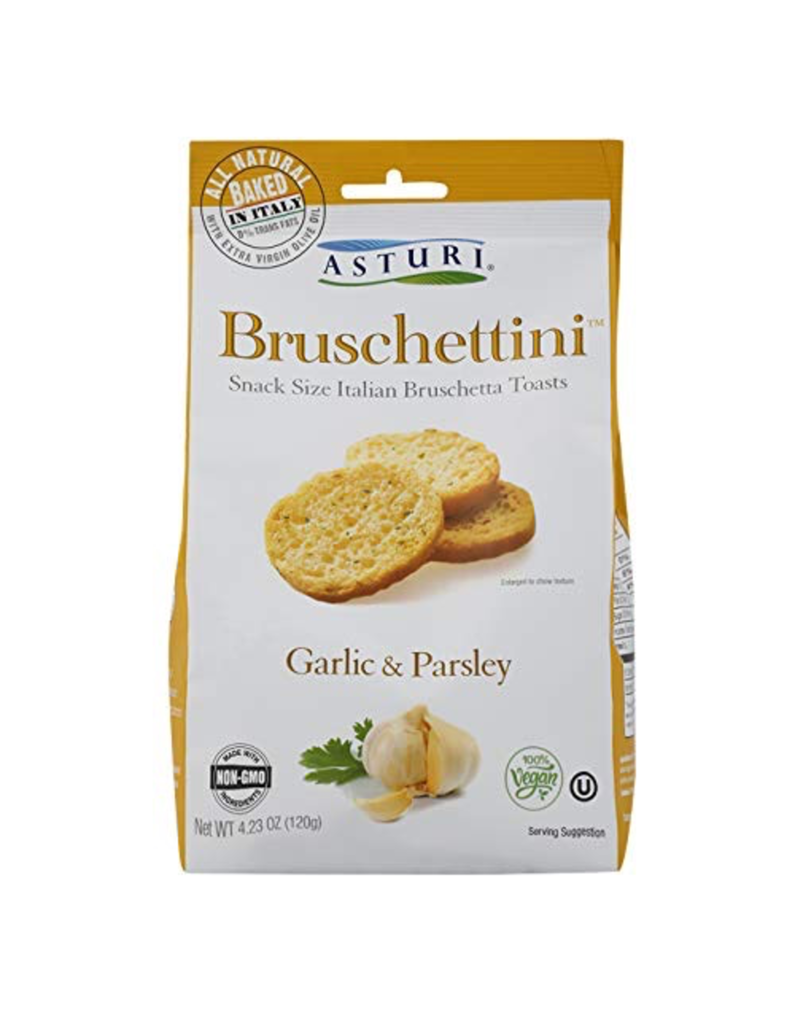 Specialty Foods Asturi, Bruschettini, Garlic and Parsley, Italy, 4.23oz. 120g