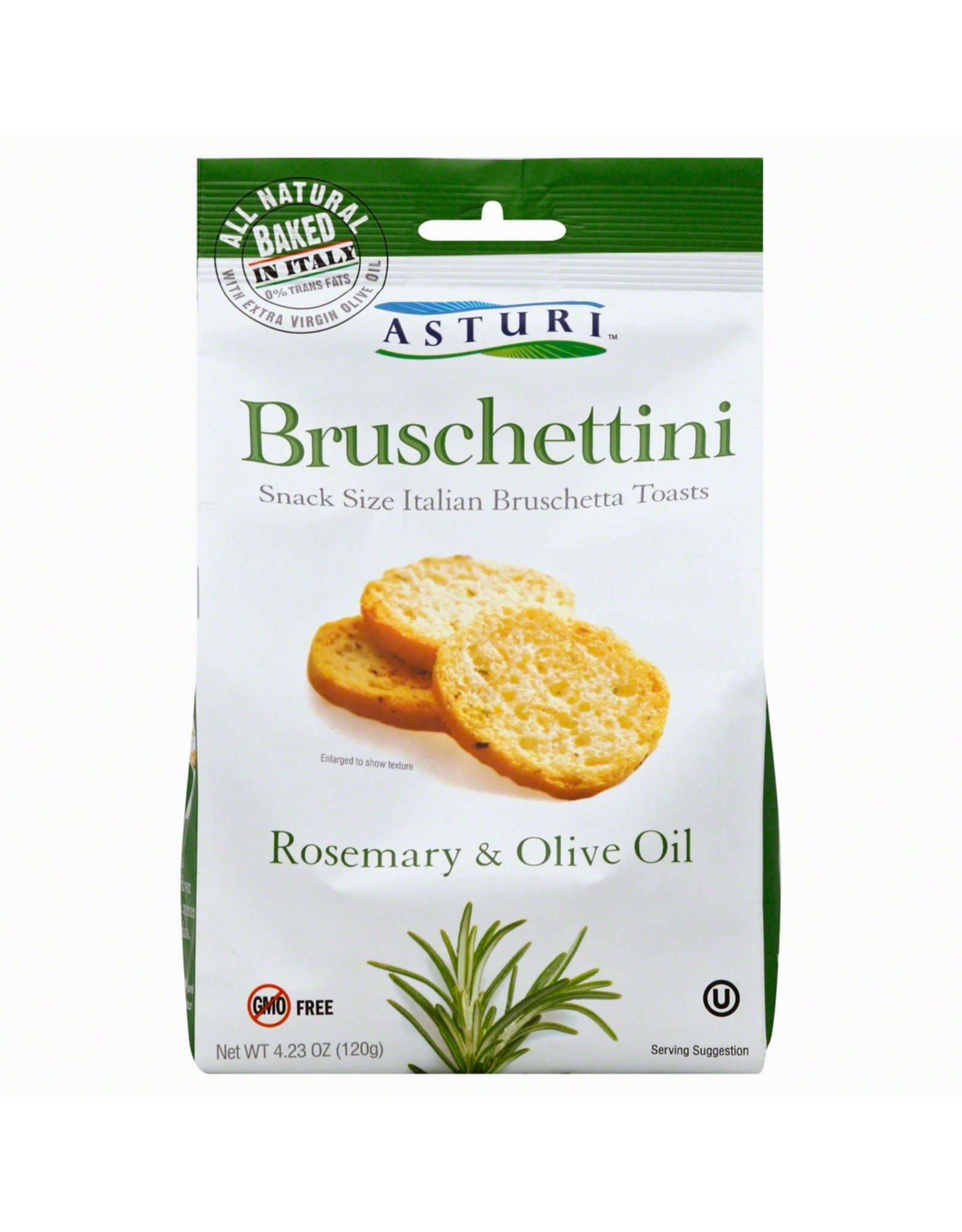 Specialty Foods Asturi, Bruschettini,Rosemary and Olive Oil, Italy, 4.23oz. 120g