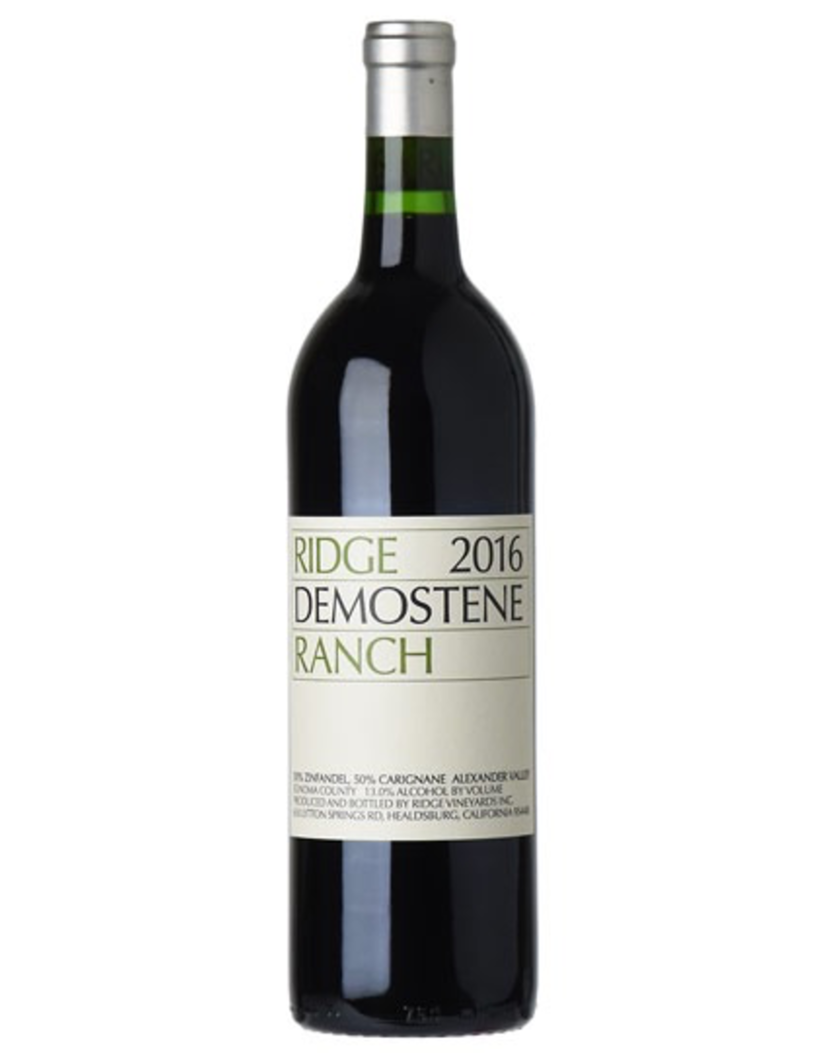 Red Wine 2016, Ridge Demostene Ranch <br /> (95 Year Old Vines), 50% Carignana 50% Zinfandel, Alexander Valley, Sonoma County, California, 13% Alc, TW94