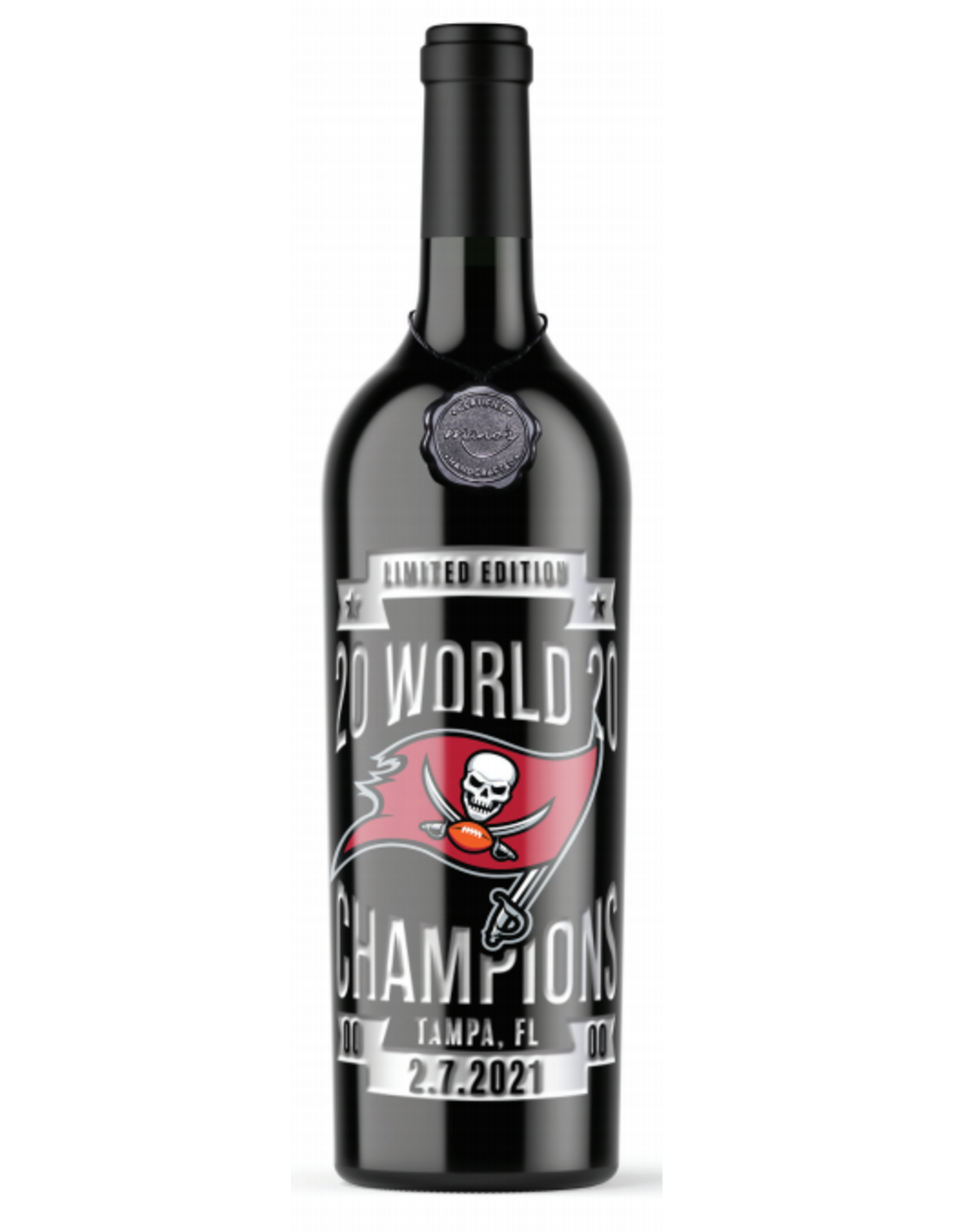 Red Wine NV, TAMPA BAY BUCCANEERS Champions Etched Bottle ~ Limited Edition, Multi-regional Blend, Mutliple AVA, California, 13.5% Alc, CTnr