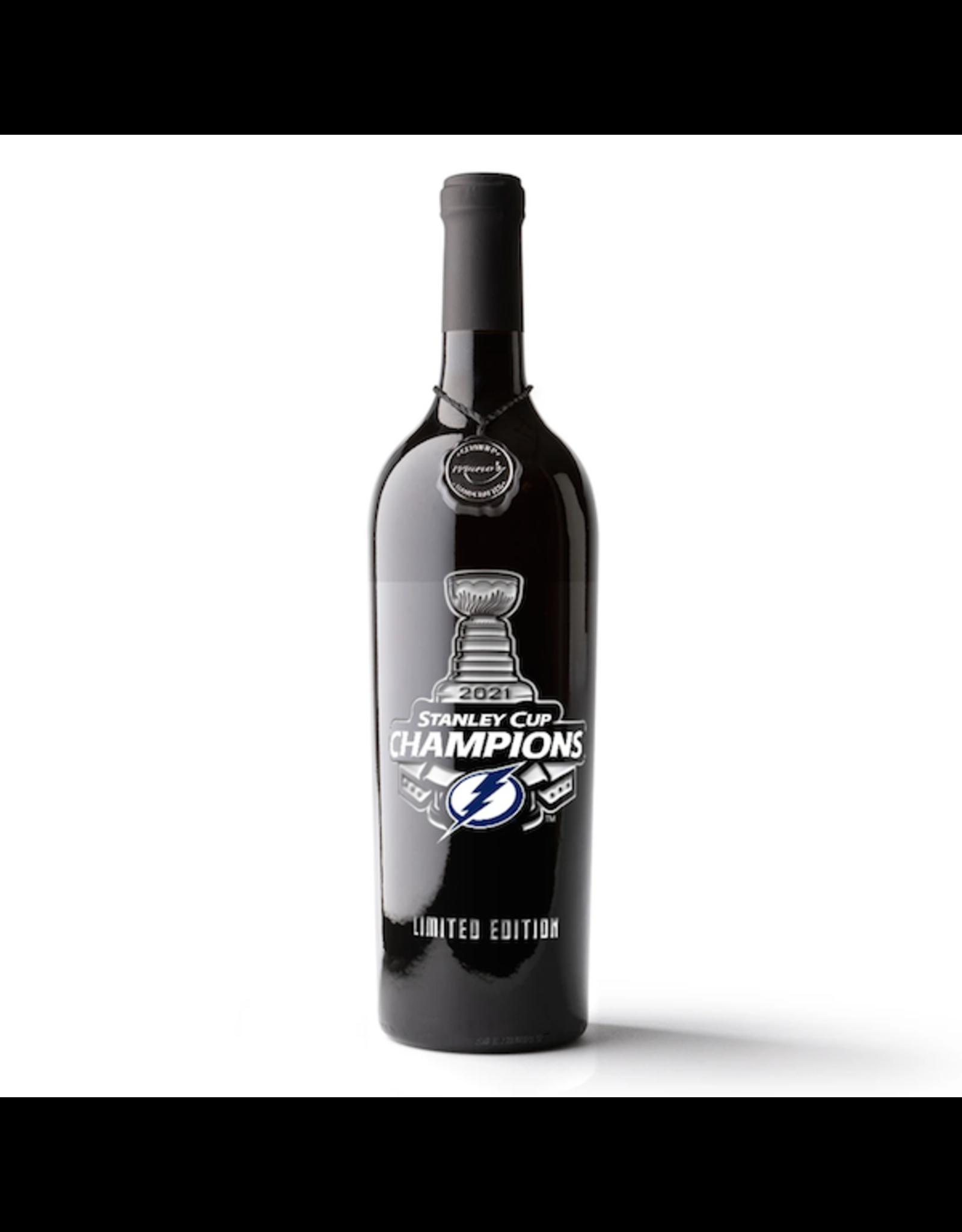 Red Wine NV, 2021 TAMPA BAY LIGHTNING Champions Etched Bottle ~ Limited Edition, Multi-regional Blend, Mutliple AVA, California, 13.5% Alc, CTnr