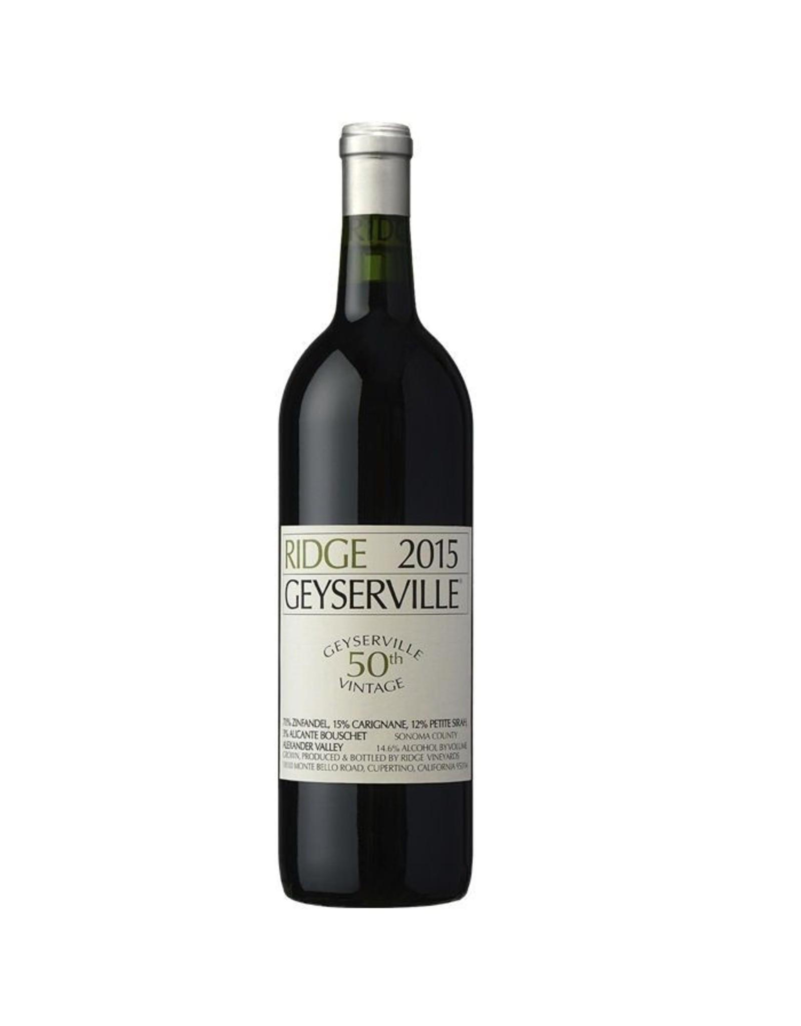 Red Wine 2015, 750ml Ridge Geyserville, Red Blend, Alexander Valley, Sonoma County, California, 14.5% Alc, TW94