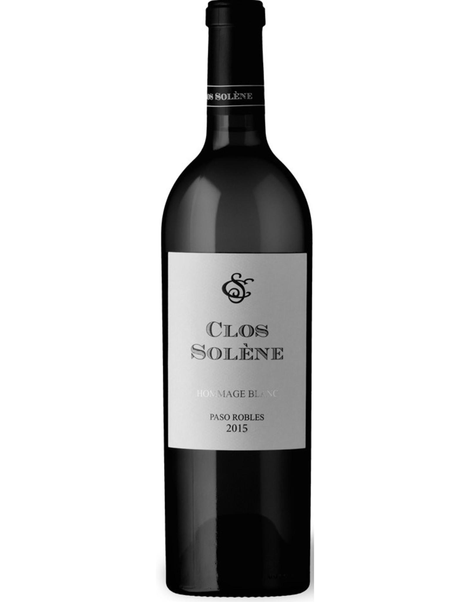White Wine 2015, Clos Solene Hommage Blanc, White Rhone Blend, Paso Robles, Central Coast, California, 14.6% Alc, CT94