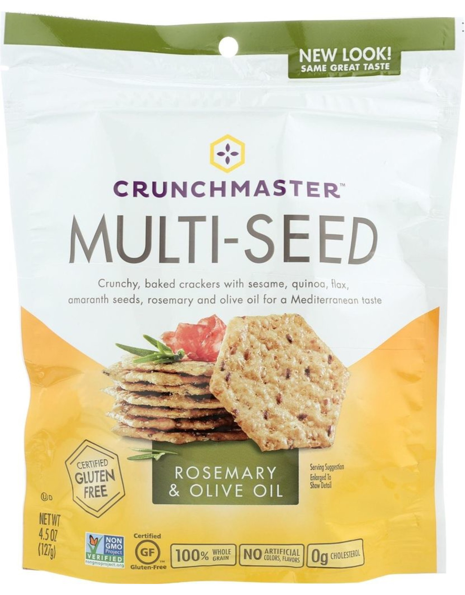 Specialty Foods Crunchmaster, Rosemary & Olive, Multi Seed Crackers, 4.5oz.