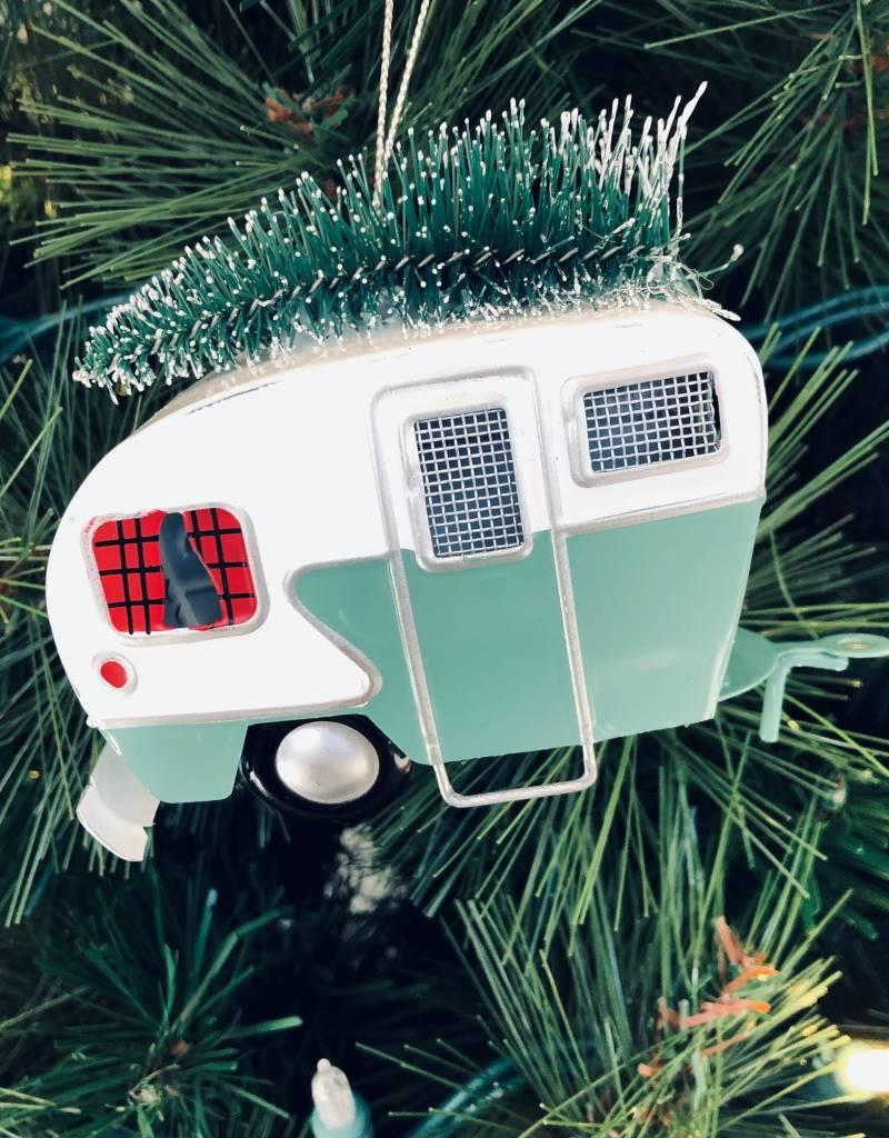 Green Iron Camping Trailer Ornament