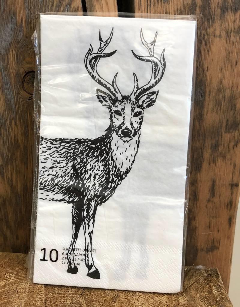 Deer Napkin 10/pk White