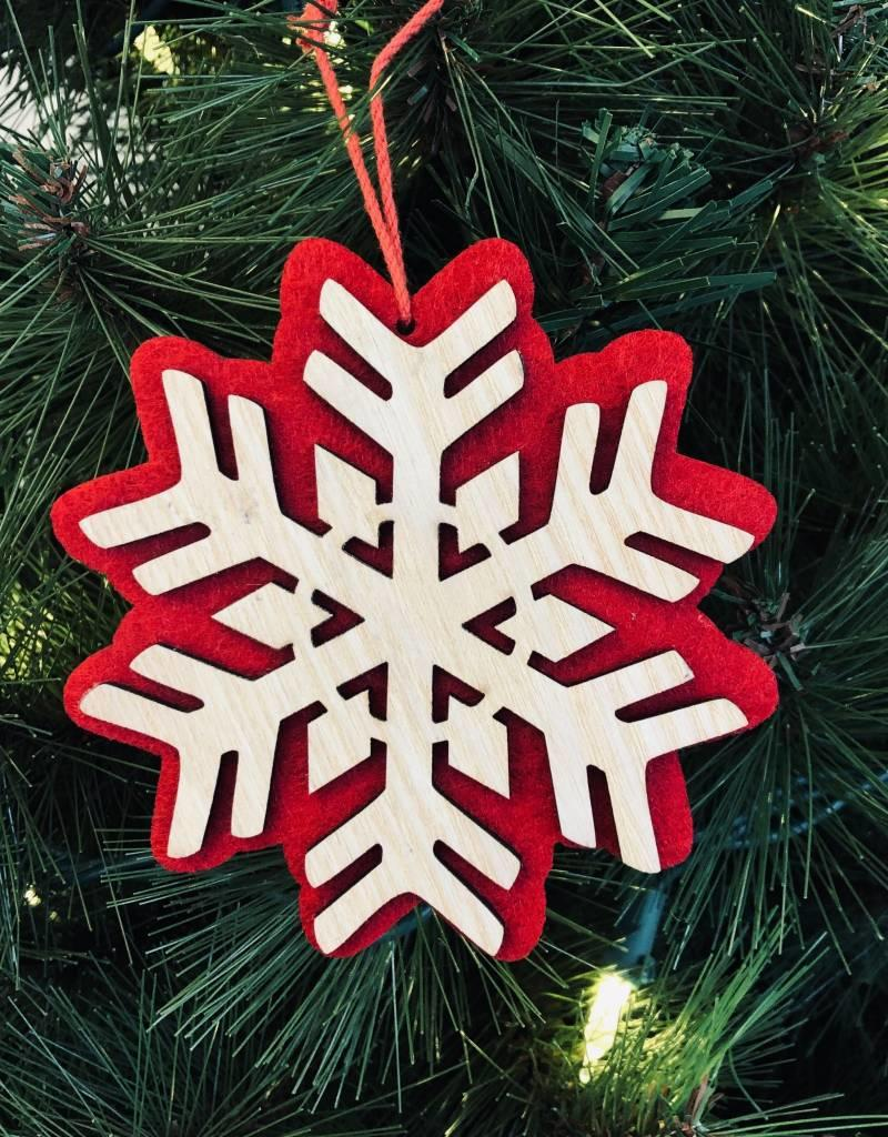 Red/Wood Snowflake Ornament
