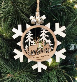 Snowflake with Deer Scene