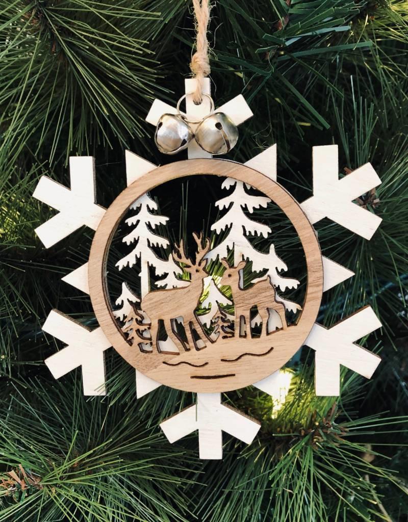 Snowflake with Deer Scene