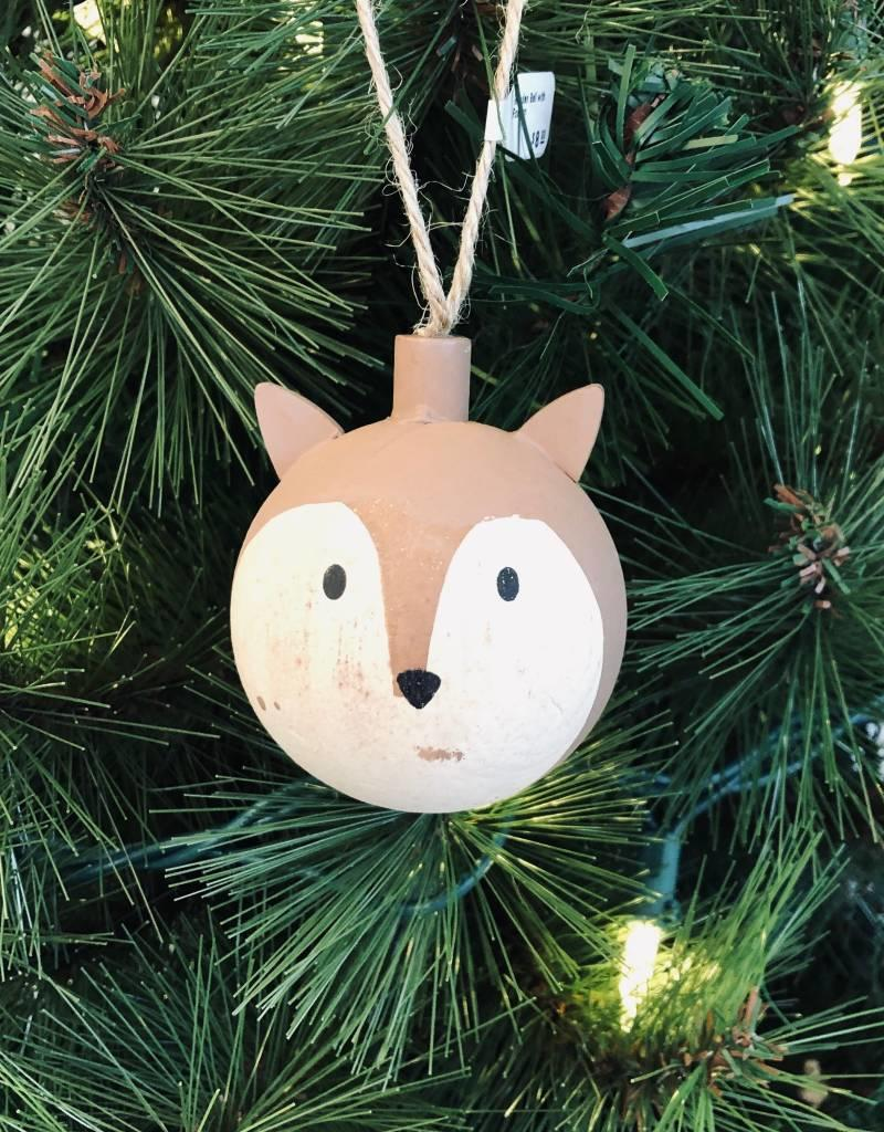 Wooden Ball with Fox Ornament