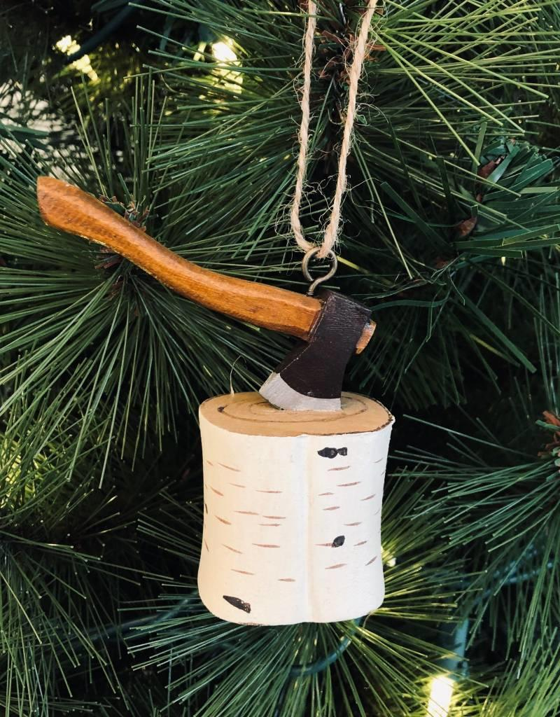 Birch Stump w/Axe Ornament