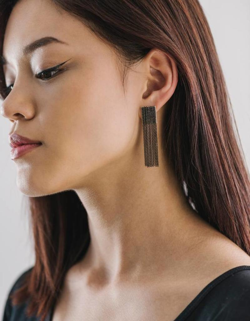 Cypress Chain Tassel Earrings-Black
