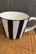 Navy stripe wide mug