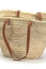 Classic French Market Basket with Leather Handles