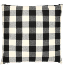 Black and Cream 18x18 Feather Fill Pillow