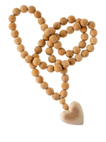 Wooden heart prayer beads large w heart