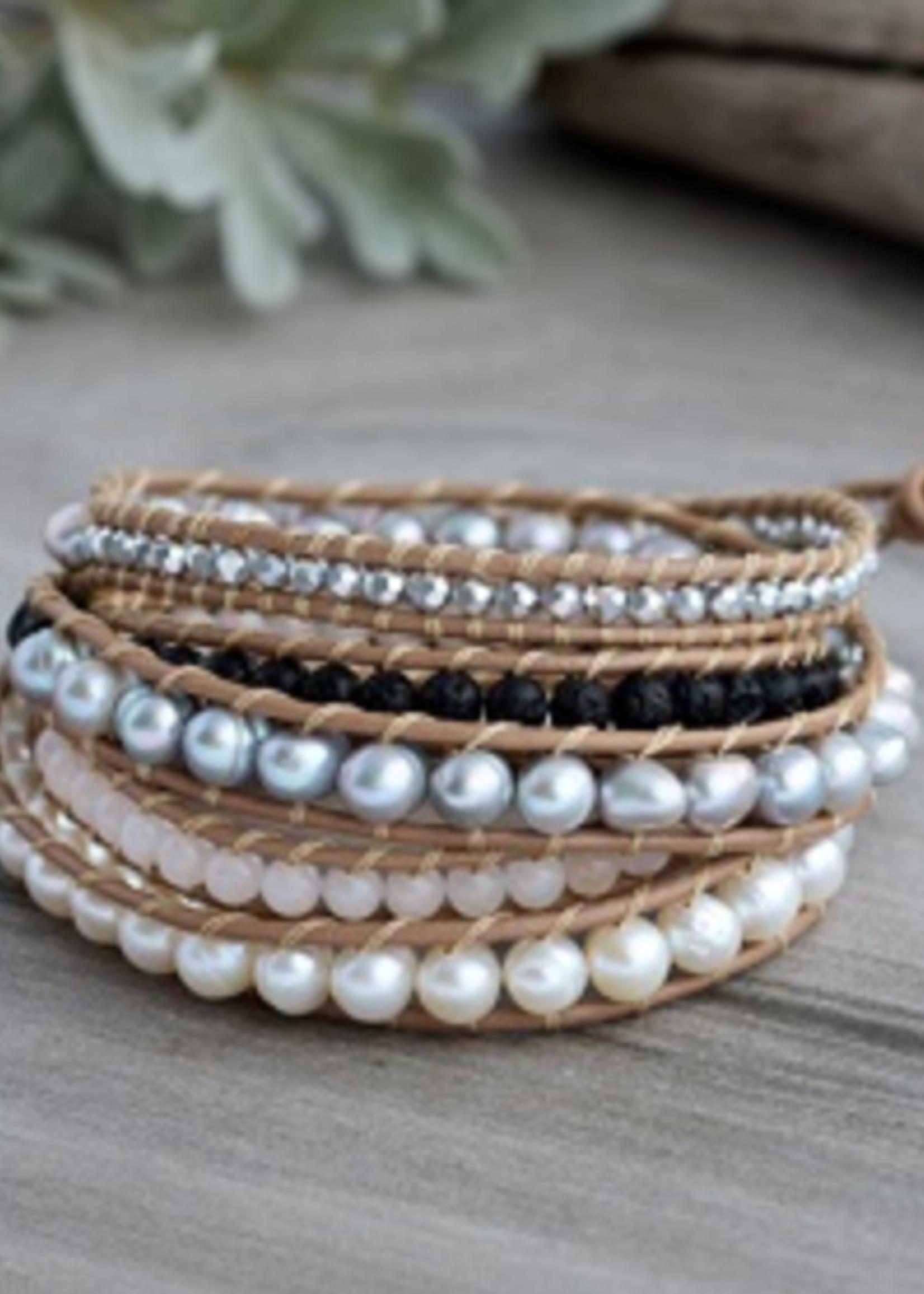 Ritzy Wrap- tan/silver/pearl/rose quartz