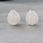 Crown Stud Earrings Silver/Rose Quartz