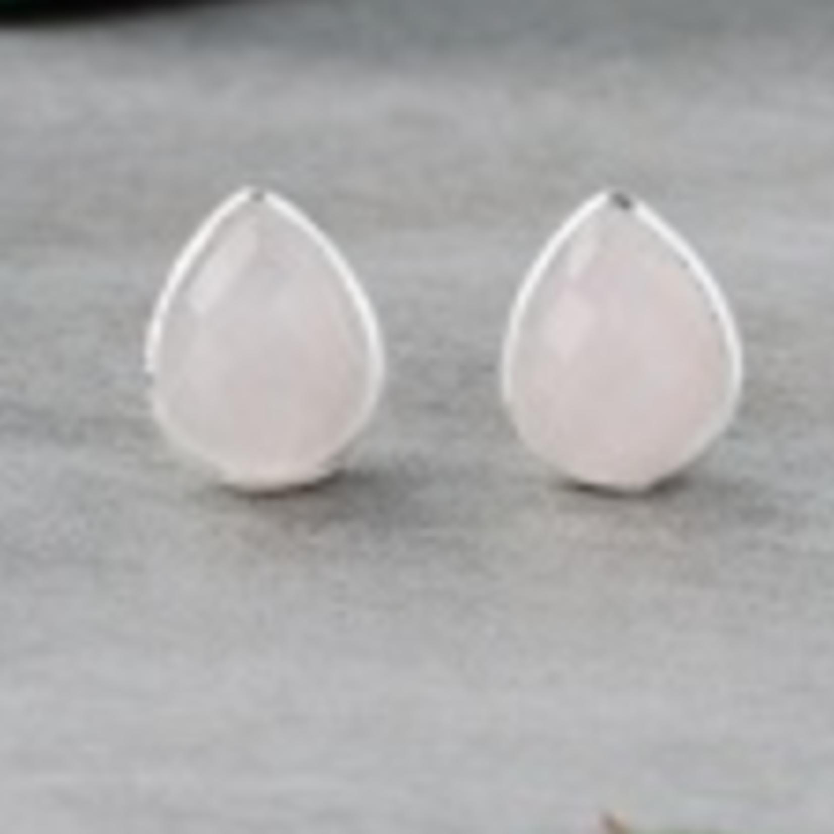 Crown Stud Earrings Silver/Rose Quartz