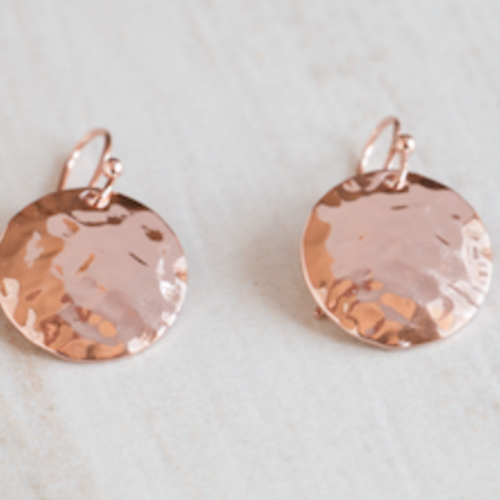 Hammered Disc /Rose Gold Earrings