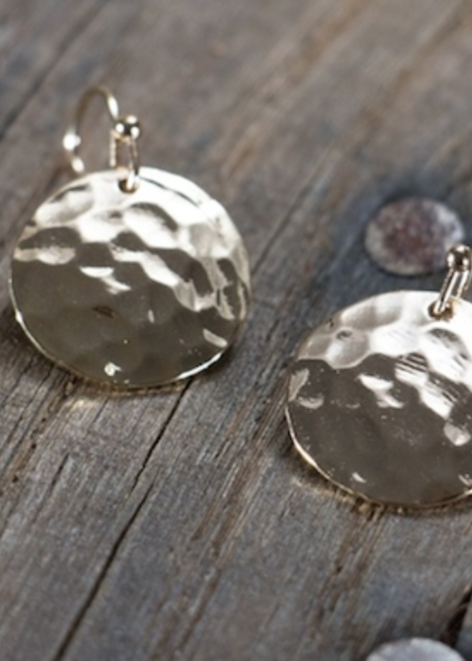 Glee Jewelry Hammered Disc Earring-Gold