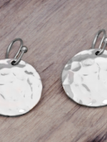 Hammered Disc Earring-Silver