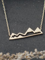 Olympic Mountain Necklace -Gold